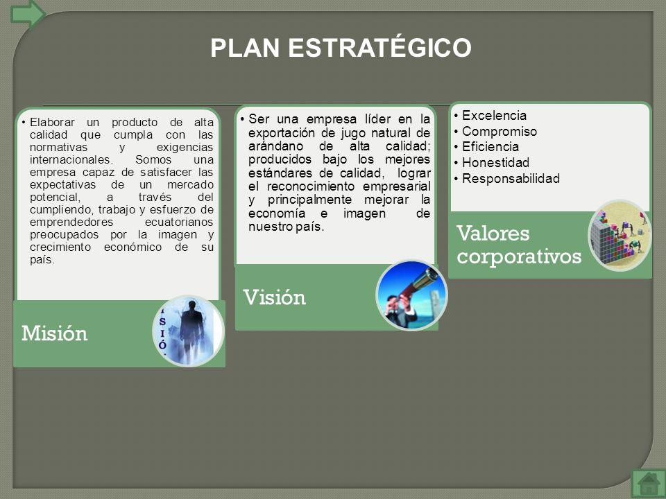 PLAN ESTRATÉGICO Valores corporativos Visión Misión