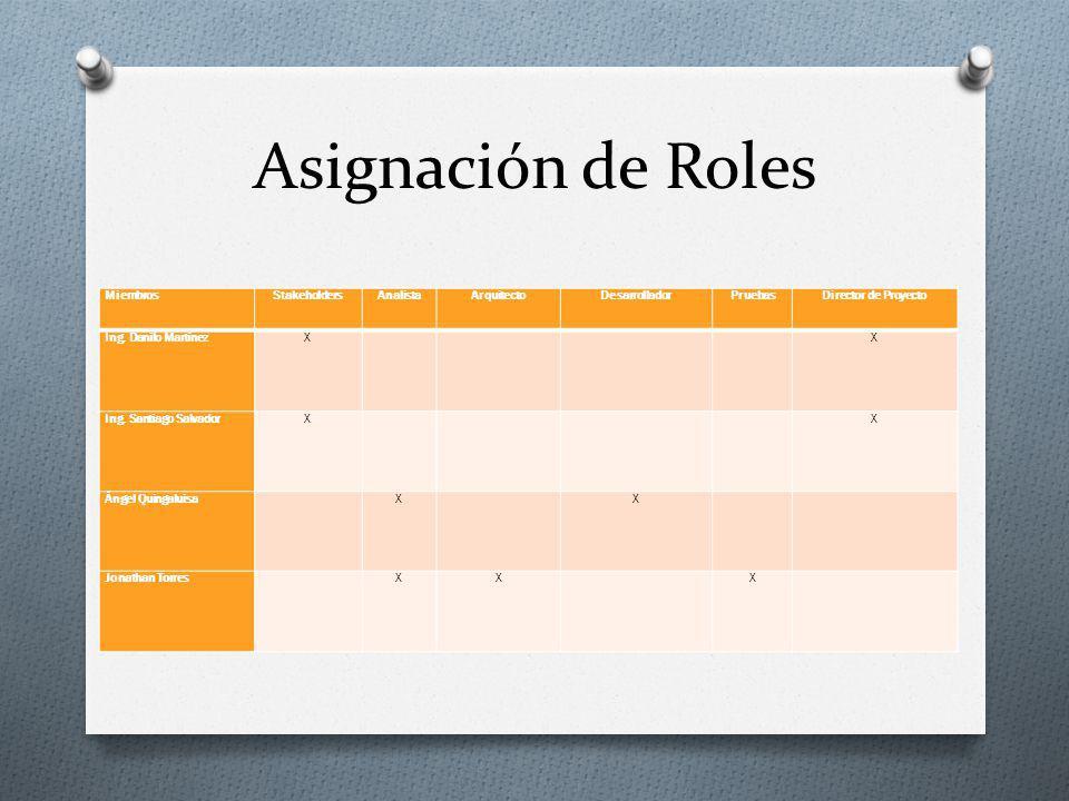 Asignación de Roles Miembros Stakeholders Analista Arquitecto