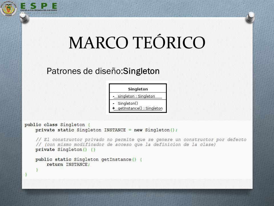 MARCO TEÓRICO Patrones de diseño:Singleton