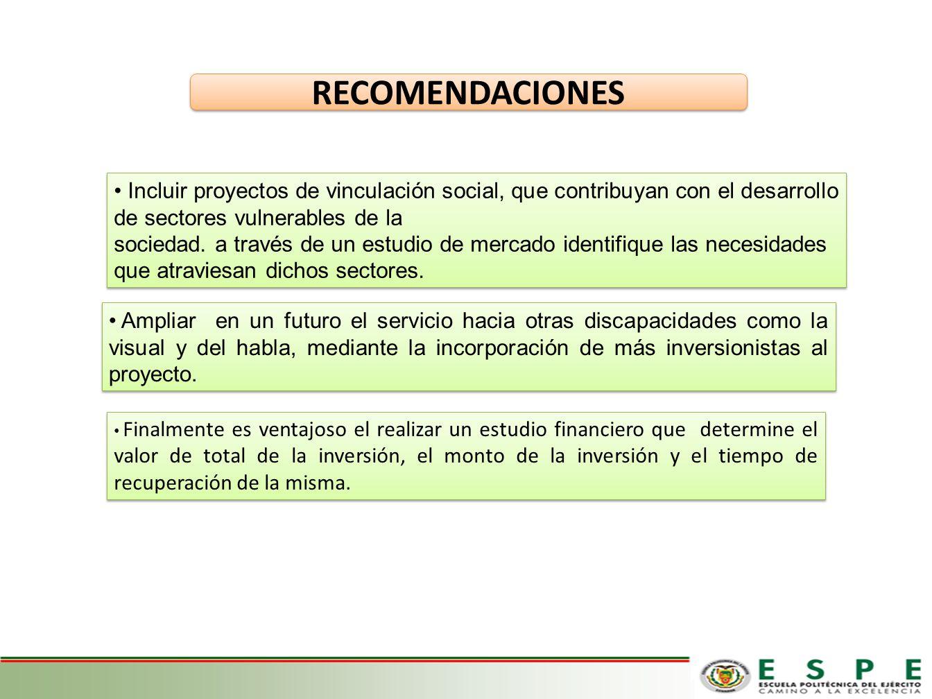 RECOMENDACIONES Incluir proyectos de vinculación social, que contribuyan con el desarrollo de sectores vulnerables de la.