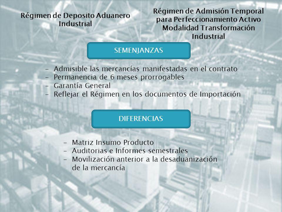 Régimen de Deposito Aduanero Industrial