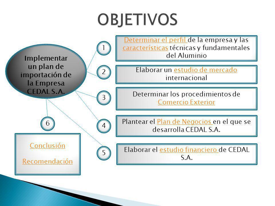 Implementar un plan de importación de la Empresa CEDAL S.A.