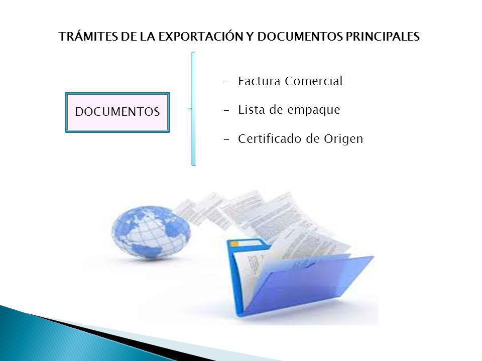 TRÁMITES DE LA EXPORTACIÓN Y DOCUMENTOS PRINCIPALES