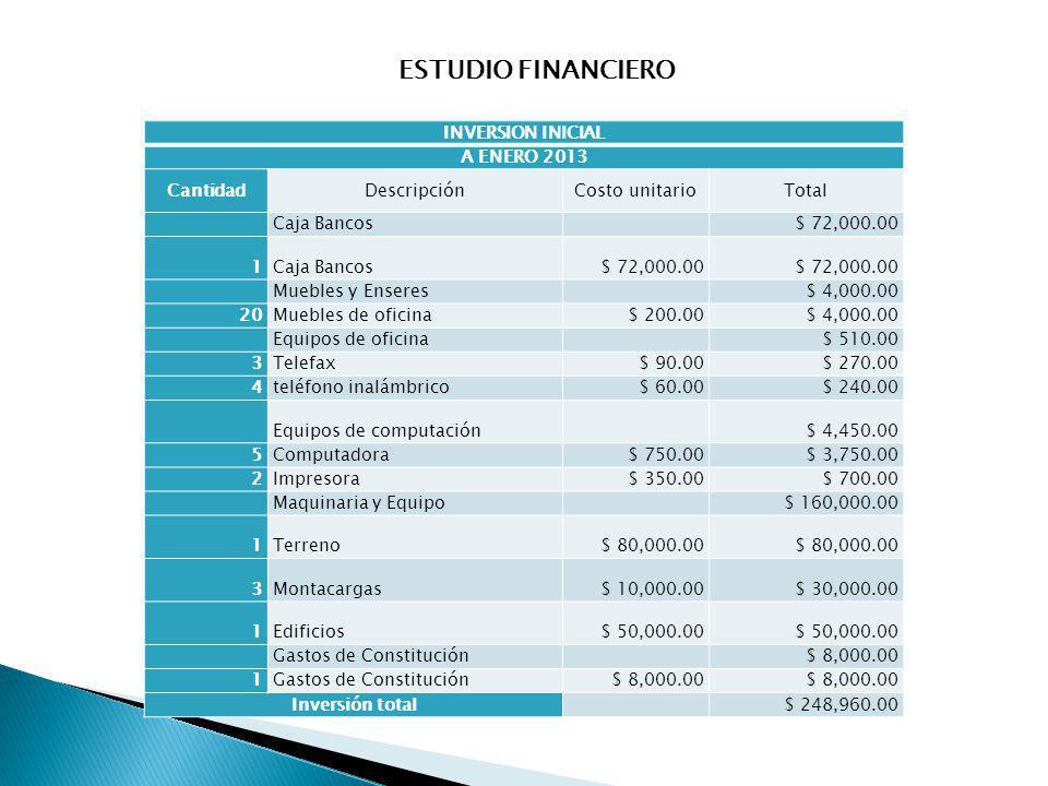ESTUDIO FINANCIERO INVERSION INICIAL A ENERO 2013 Cantidad Descripción