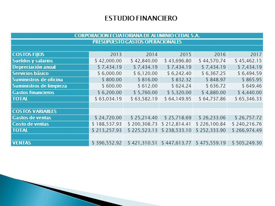 ESTUDIO FINANCIERO CORPORACION ECUATORIANA DE ALUMINIO CEDAL S.A.
