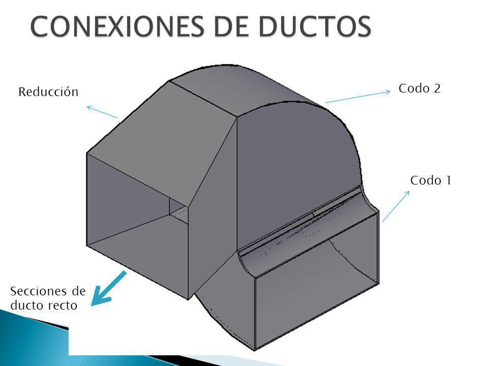 CONEXIONES DE DUCTOS Codo 2 Reducción Codo 1 Secciones de ducto recto