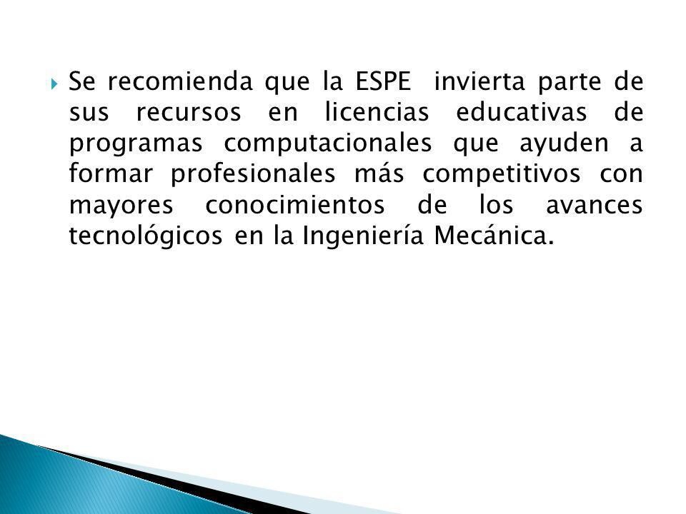 Se recomienda que la ESPE invierta parte de sus recursos en licencias educativas de programas computacionales que ayuden a formar profesionales más competitivos con mayores conocimientos de los avances tecnológicos en la Ingeniería Mecánica.