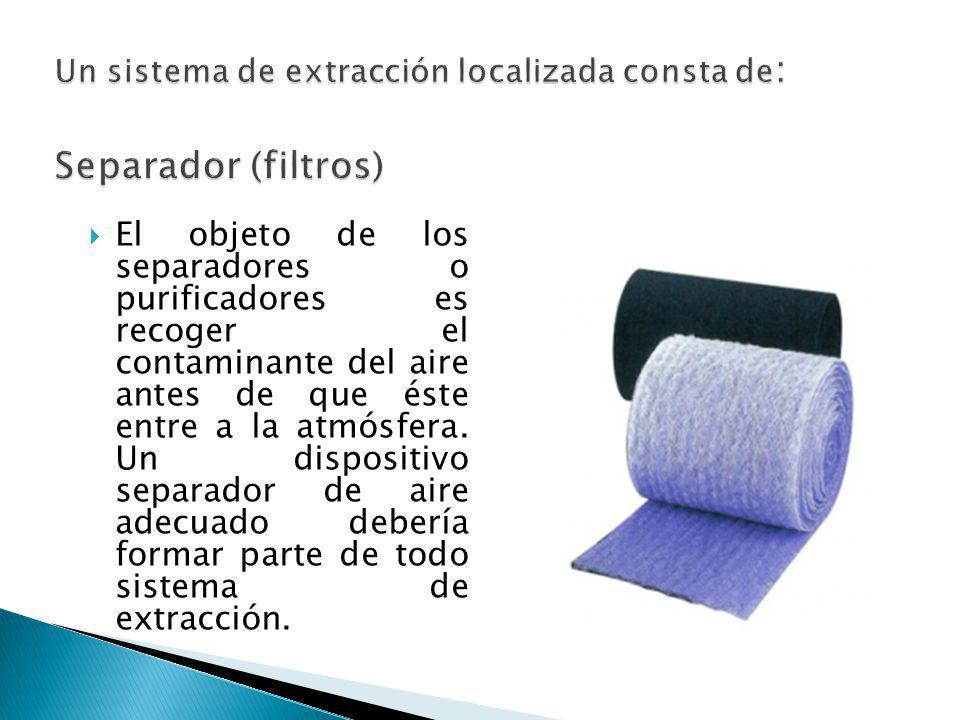 Un sistema de extracción localizada consta de: Separador (filtros)