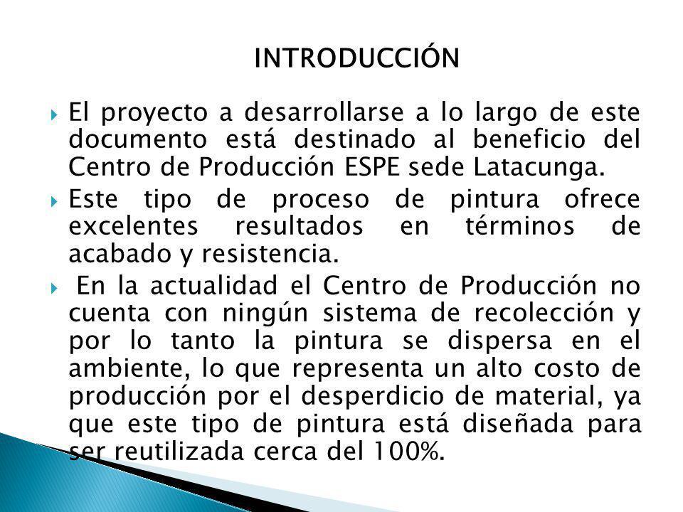 INTRODUCCIÓN El proyecto a desarrollarse a lo largo de este documento está destinado al beneficio del Centro de Producción ESPE sede Latacunga.