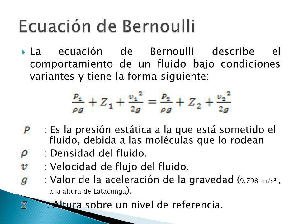 Ecuación de Bernoulli : Altura sobre un nivel de referencia.