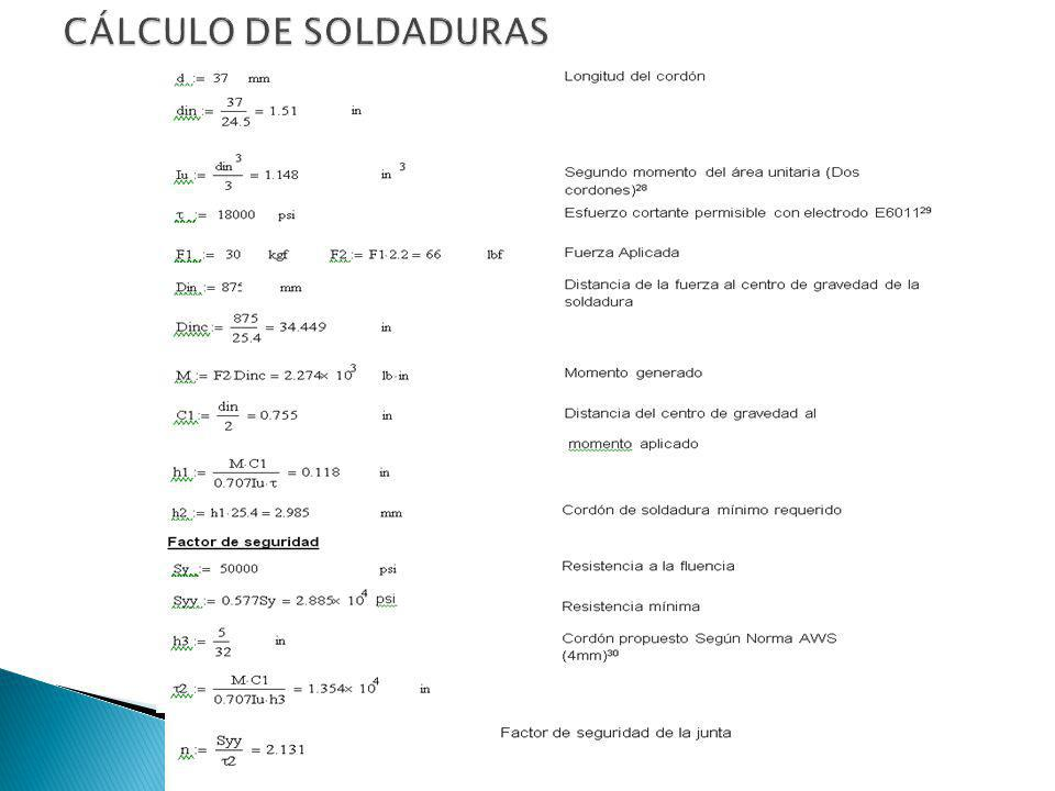CÁLCULO DE SOLDADURAS