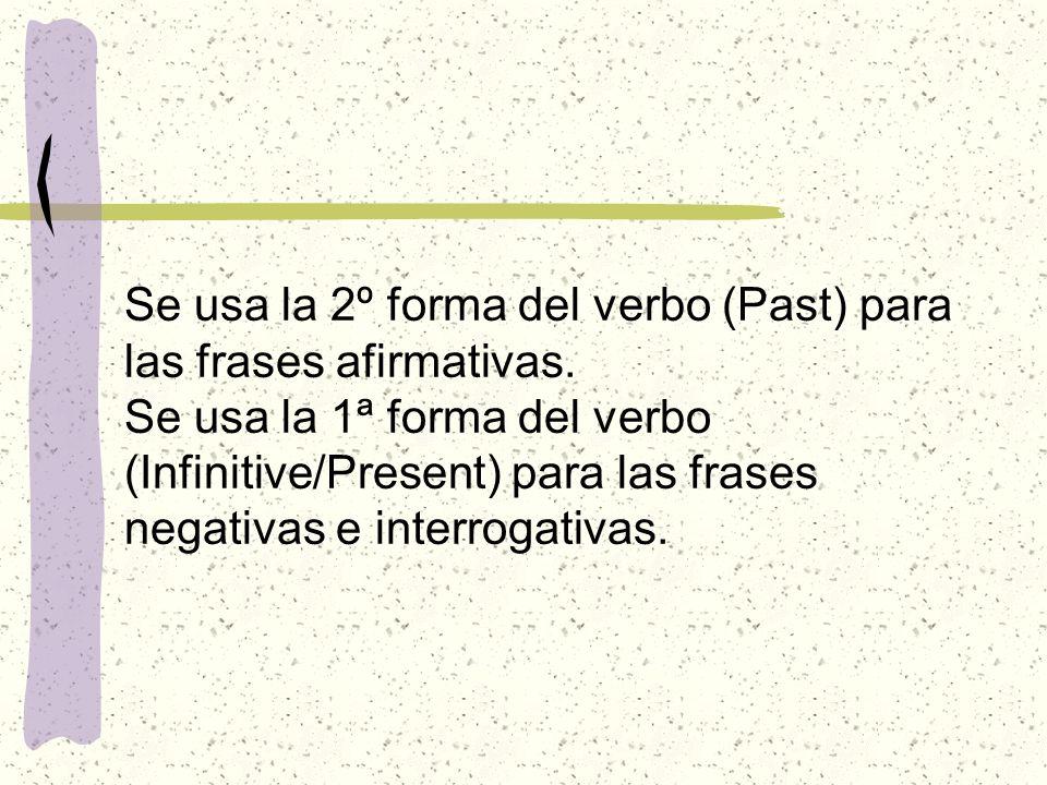 Se usa la 2º forma del verbo (Past) para las frases afirmativas