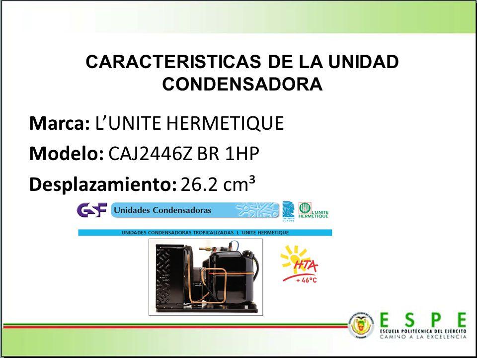 CARACTERISTICAS DE LA UNIDAD CONDENSADORA