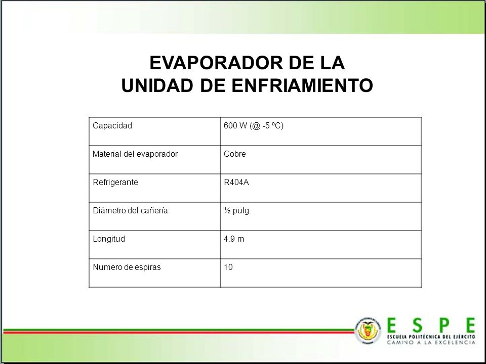 EVAPORADOR DE LA UNIDAD DE ENFRIAMIENTO
