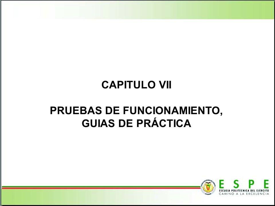 PRUEBAS DE FUNCIONAMIENTO, GUIAS DE PRÁCTICA