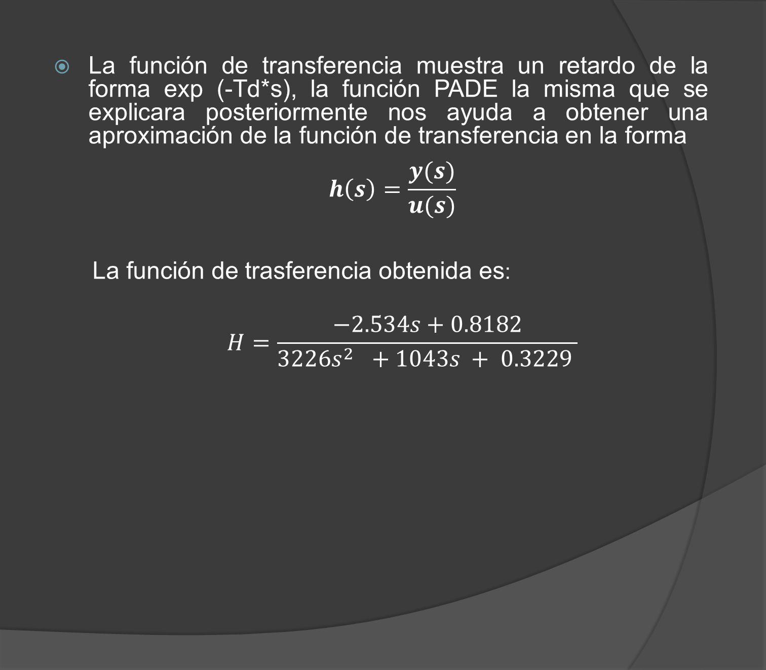 La función de transferencia muestra un retardo de la forma exp (-Td
