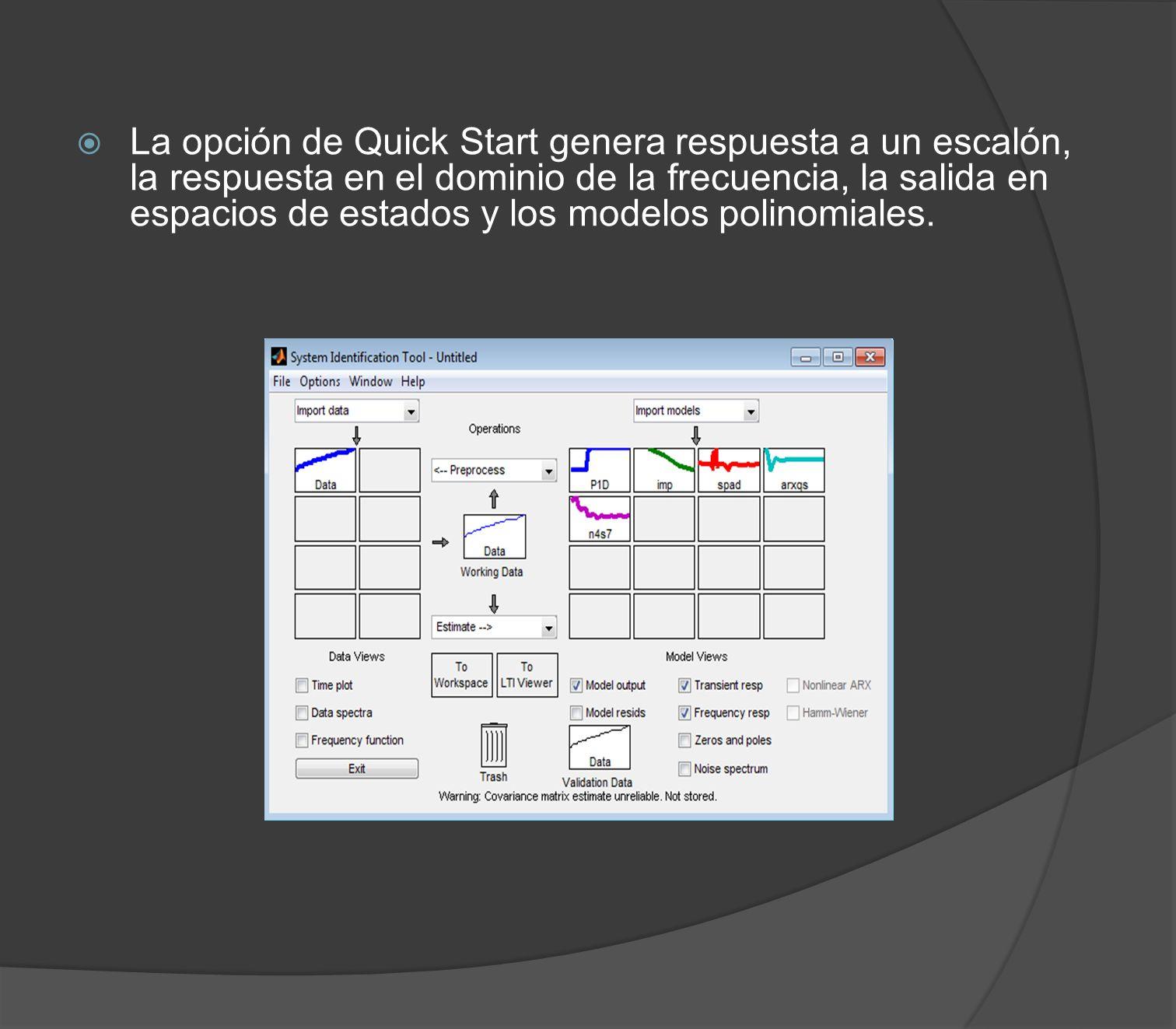 La opción de Quick Start genera respuesta a un escalón, la respuesta en el dominio de la frecuencia, la salida en espacios de estados y los modelos polinomiales.