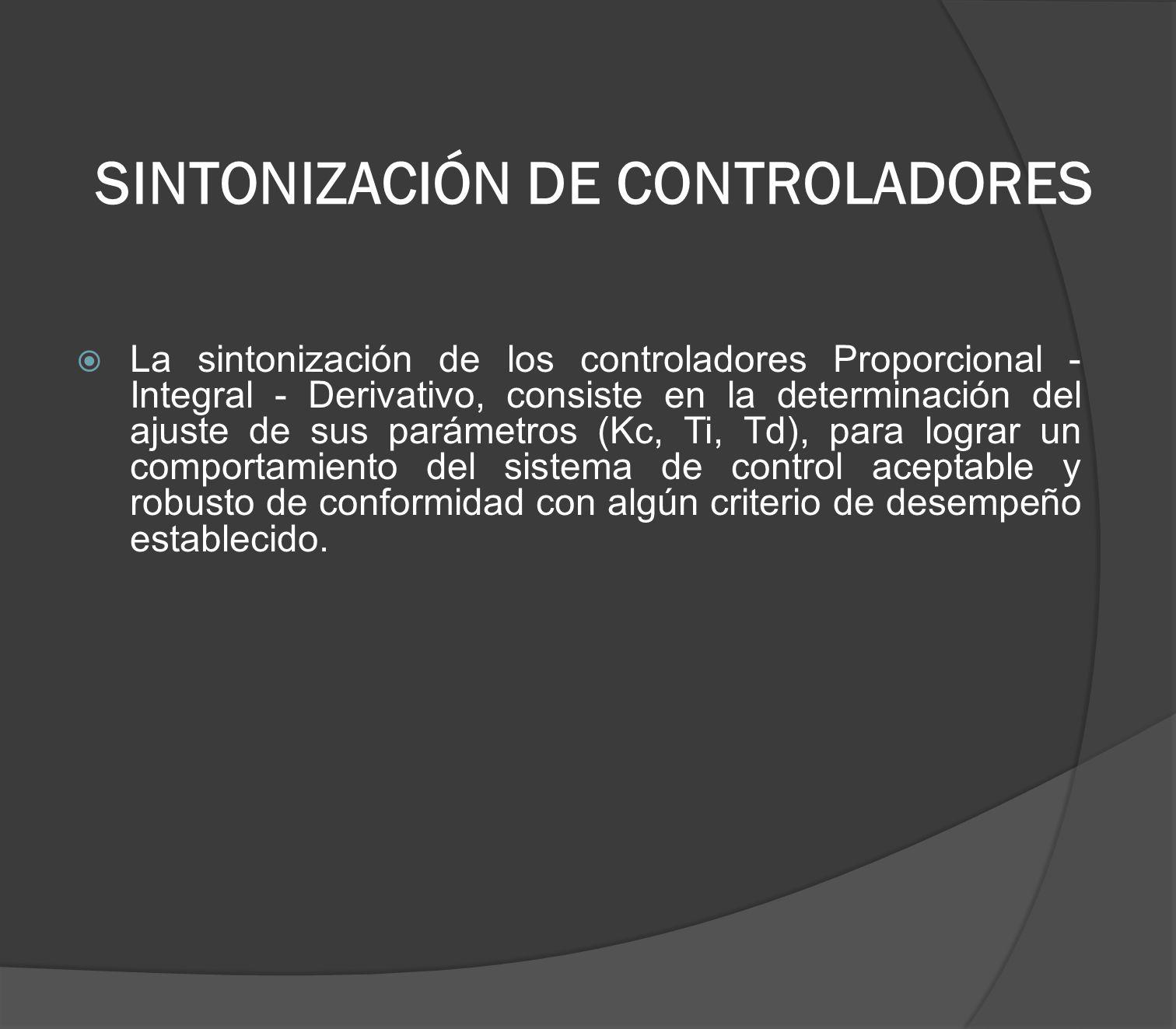 SINTONIZACIÓN DE CONTROLADORES