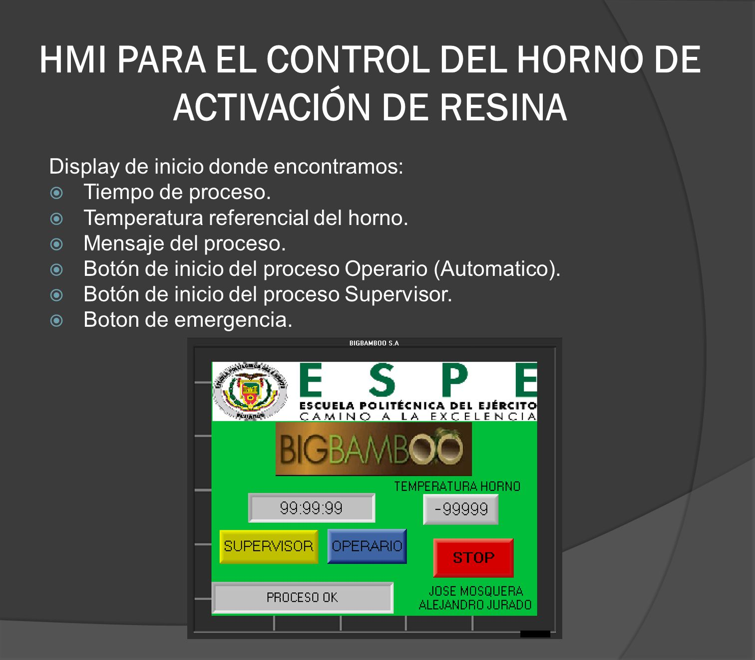 HMI PARA EL CONTROL DEL HORNO DE ACTIVACIÓN DE RESINA