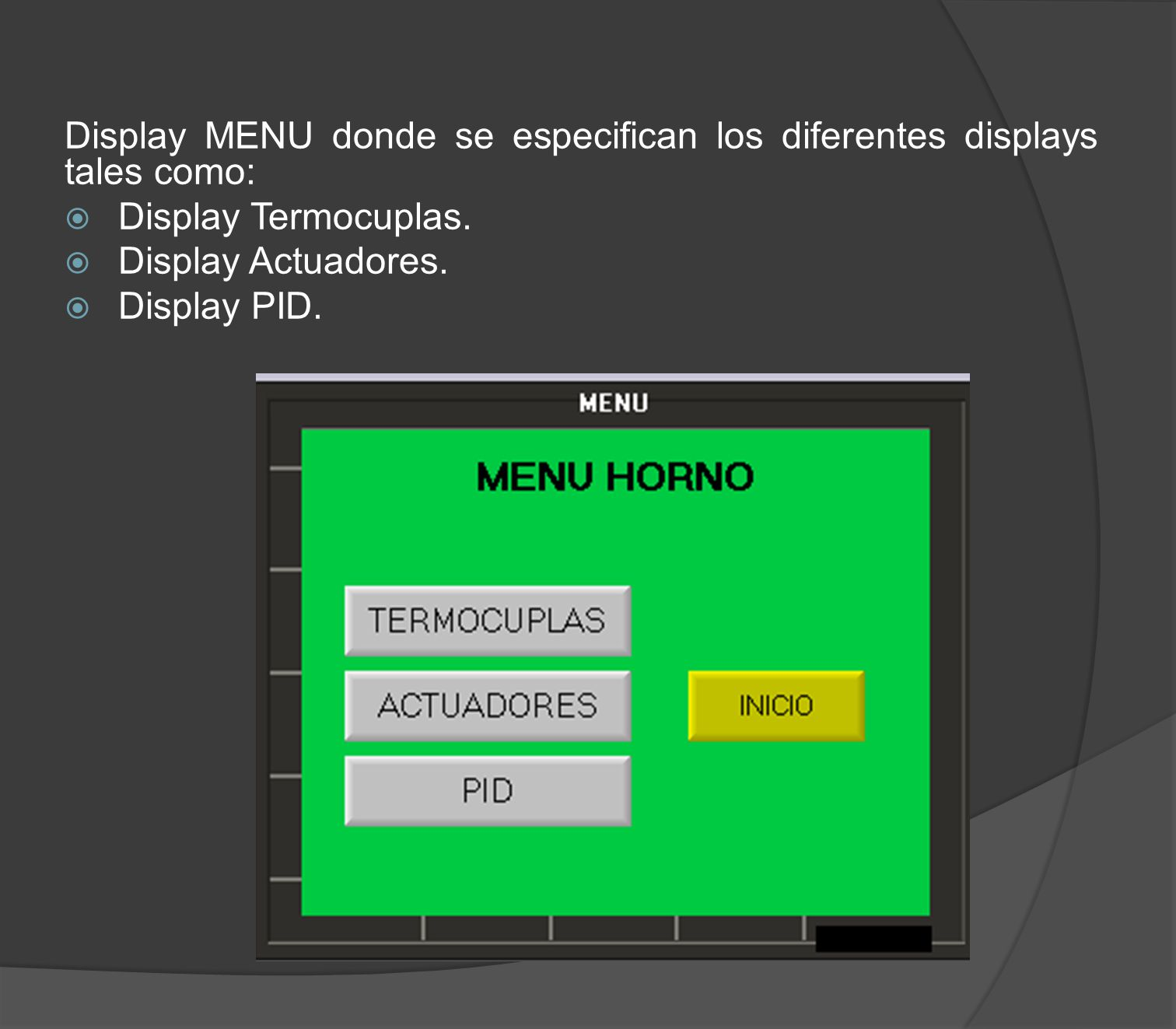 Display MENU donde se especifican los diferentes displays tales como: