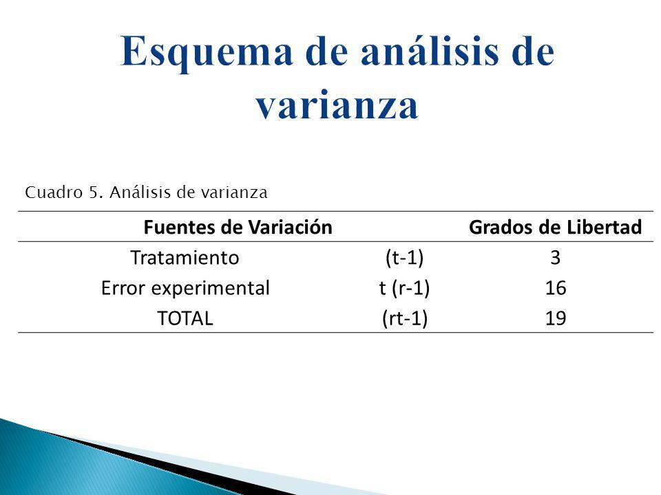Esquema de análisis de varianza
