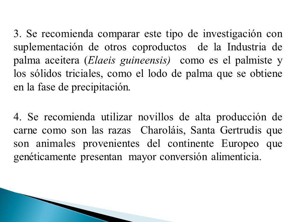 3. Se recomienda comparar este tipo de investigación con suplementación de otros coproductos de la Industria de palma aceitera (Elaeis guineensis) como es el palmiste y los sólidos triciales, como el lodo de palma que se obtiene en la fase de precipitación.
