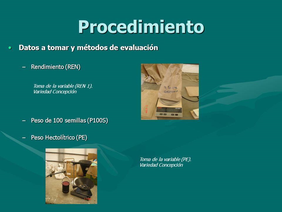 Procedimiento Datos a tomar y métodos de evaluación Rendimiento (REN)