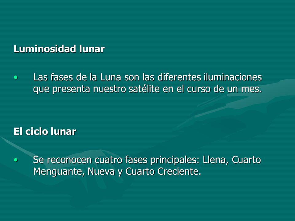 Luminosidad lunar Las fases de la Luna son las diferentes iluminaciones que presenta nuestro satélite en el curso de un mes.