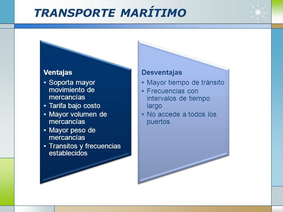 TRANSPORTE MARÍTIMO Ventajas Soporta mayor movimiento de mercancías