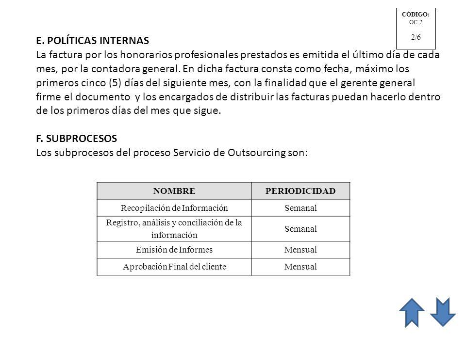 Los subprocesos del proceso Servicio de Outsourcing son: