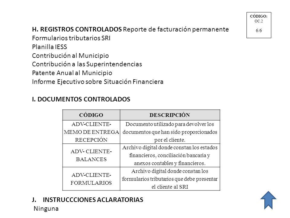 H. REGISTROS CONTROLADOS Reporte de facturación permanente
