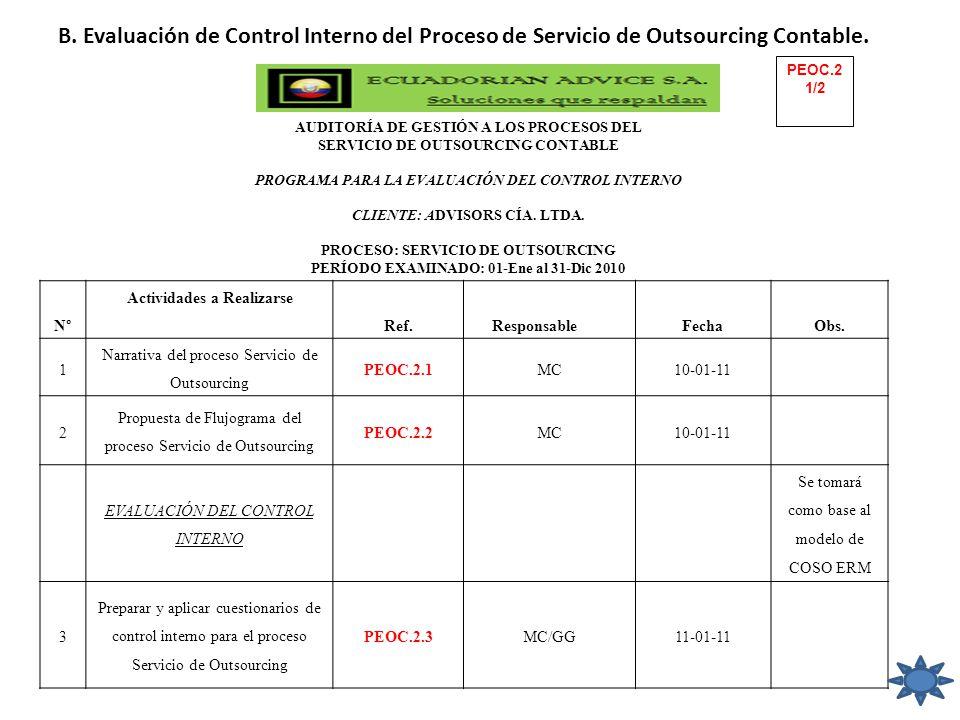 B. Evaluación de Control Interno del Proceso de Servicio de Outsourcing Contable.