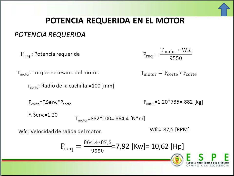 POTENCIA REQUERIDA EN EL MOTOR