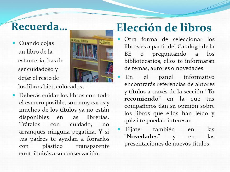 Elección de libros Recuerda…