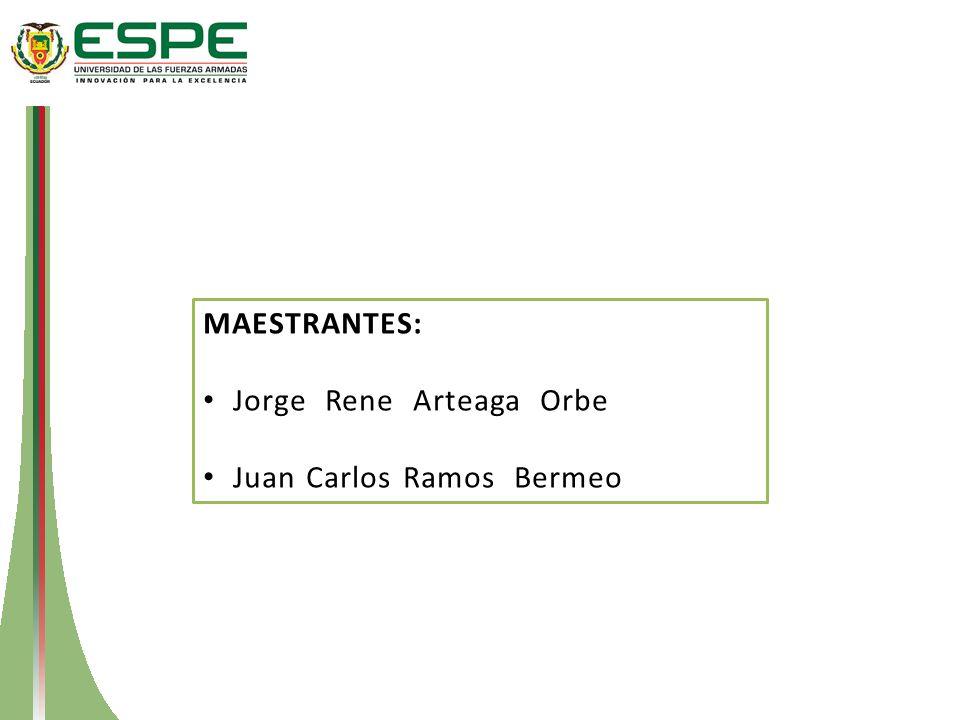 MAESTRANTES: Jorge Rene Arteaga Orbe Juan Carlos Ramos Bermeo