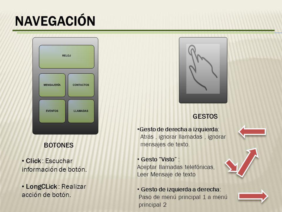 navegación GESTOS BOTONES Click : Escuchar información de botón.