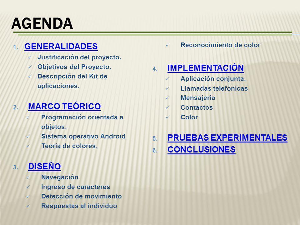 AGENDA GENERALIDADES IMPLEMENTACIÓN MARCO TEÓRICO