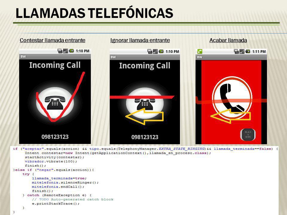 LLAMADAS TELEFÓNICAS Contestar llamada entrante