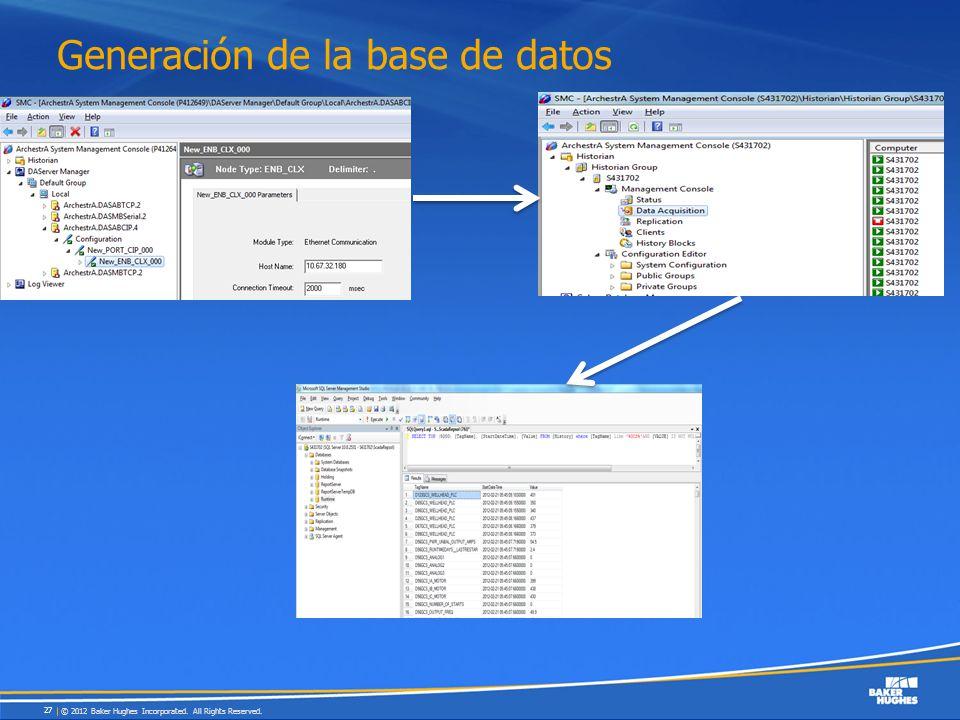 Generación de la base de datos