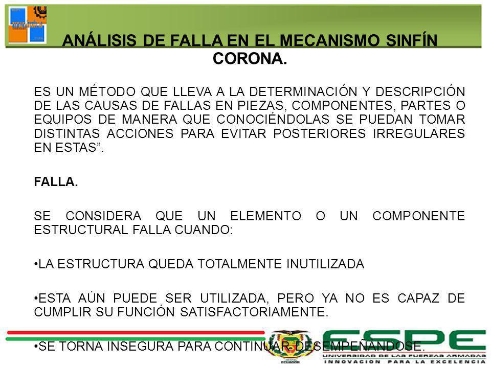 ANÁLISIS DE FALLA EN EL MECANISMO SINFÍN CORONA.