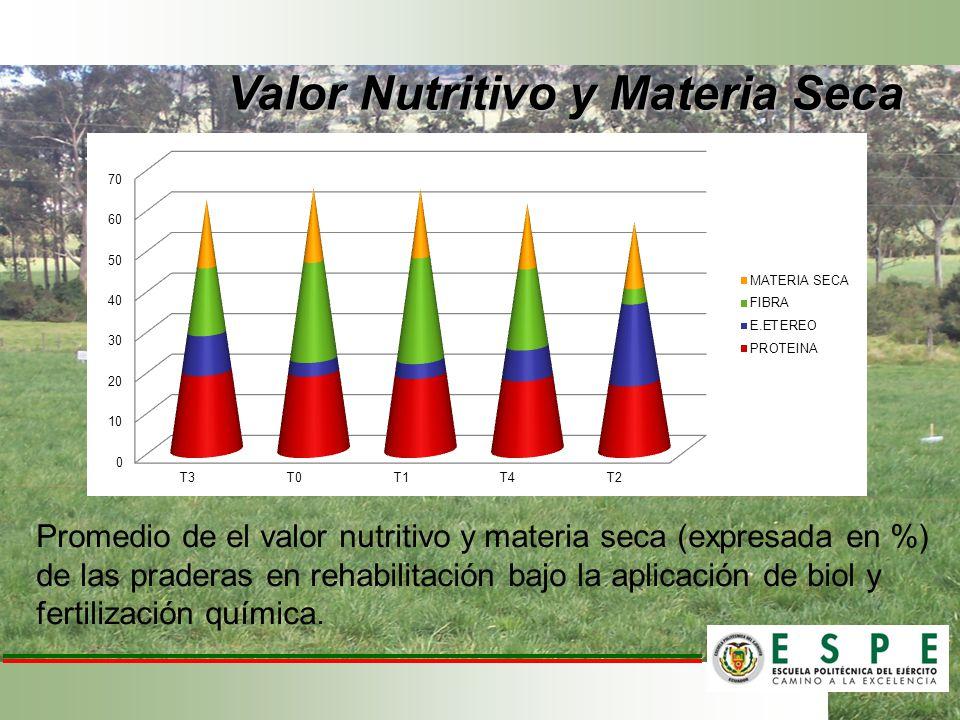 Valor Nutritivo y Materia Seca