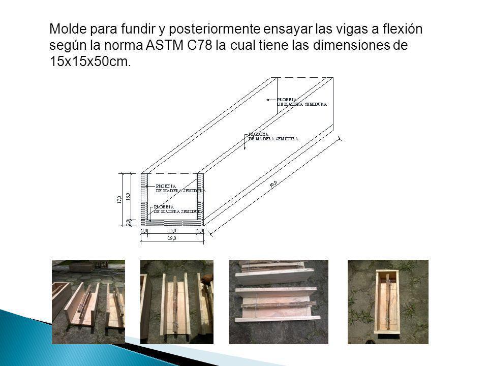 Molde para fundir y posteriormente ensayar las vigas a flexión según la norma ASTM C78 la cual tiene las dimensiones de 15x15x50cm.