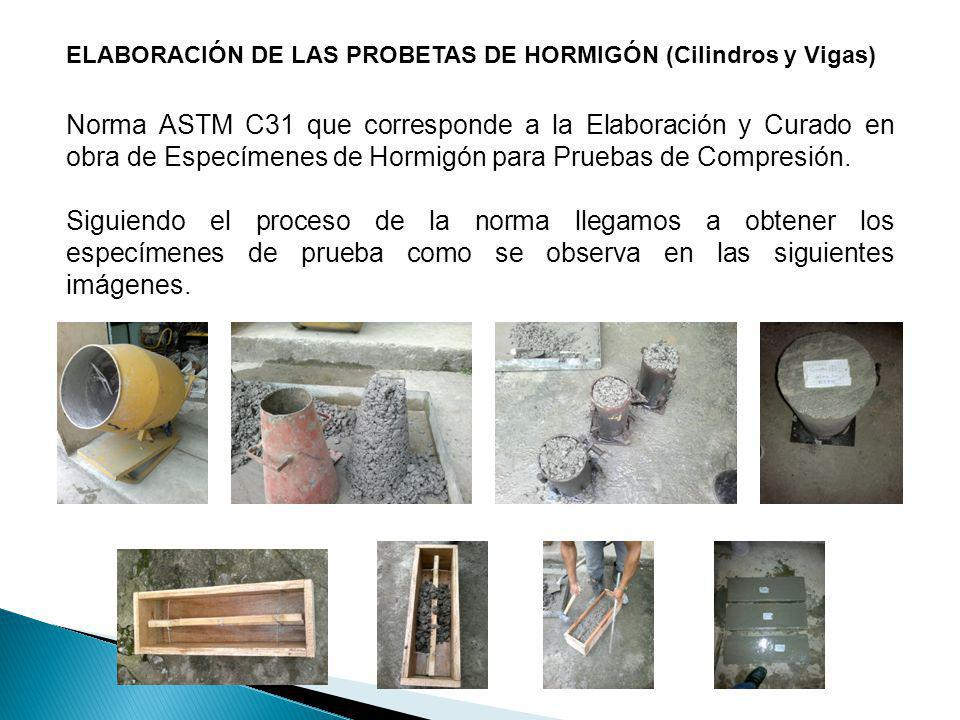 ELABORACIÓN DE LAS PROBETAS DE HORMIGÓN (Cilindros y Vigas)