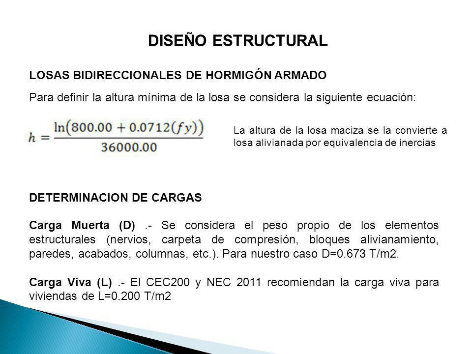 DISEÑO ESTRUCTURAL LOSAS BIDIRECCIONALES DE HORMIGÓN ARMADO