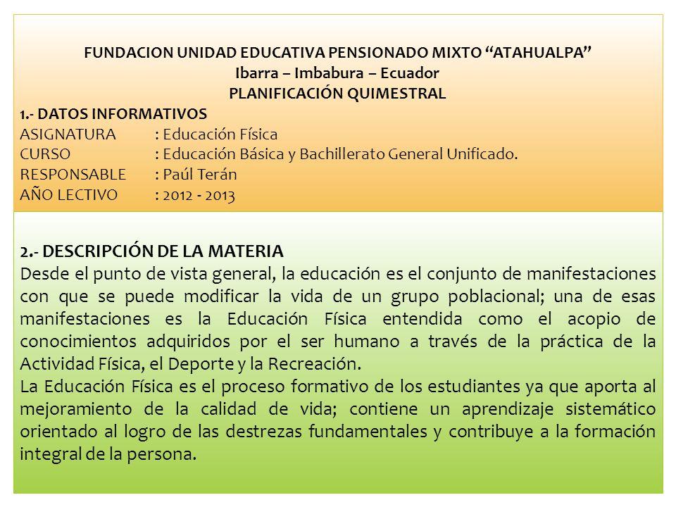 2.- DESCRIPCIÓN DE LA MATERIA