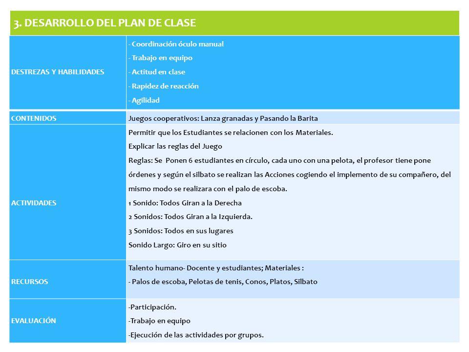 3. DESARROLLO DEL PLAN DE CLASE