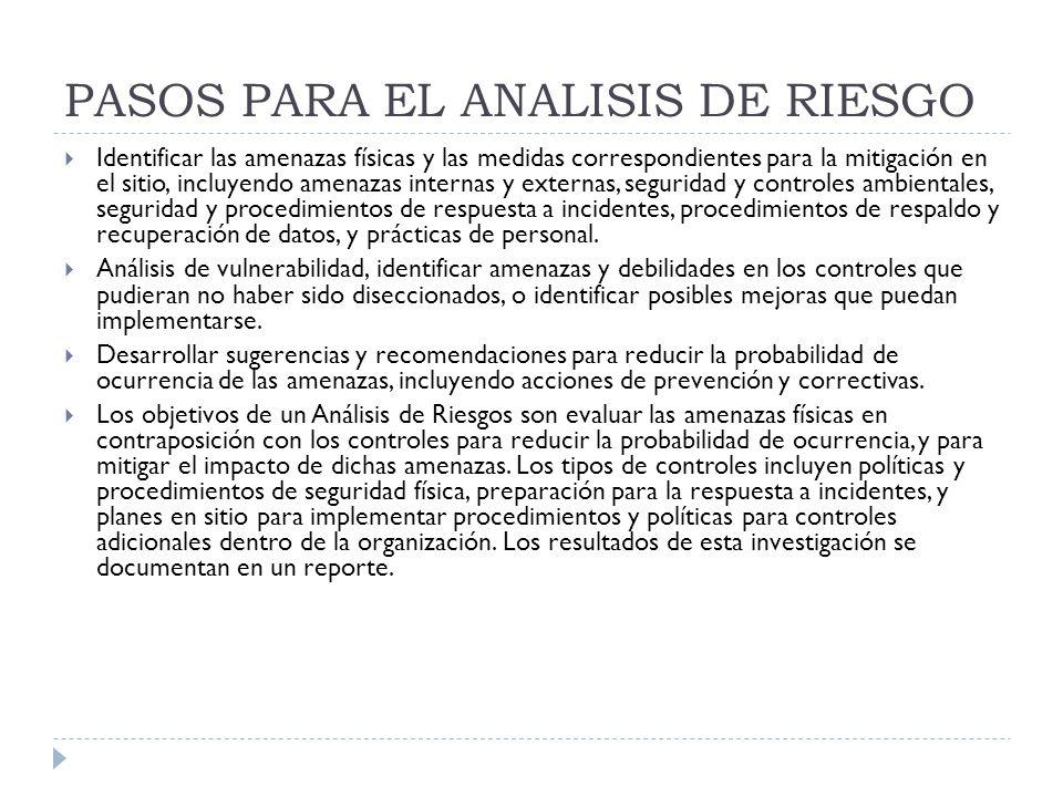 PASOS PARA EL ANALISIS DE RIESGO