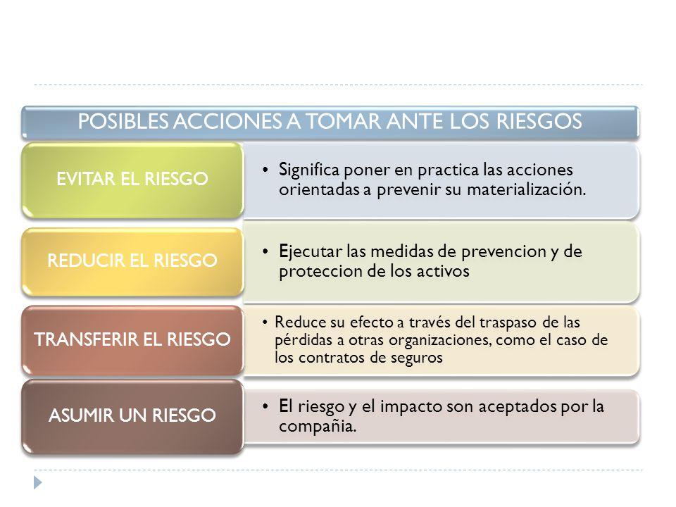 POSIBLES ACCIONES A TOMAR ANTE LOS RIESGOS
