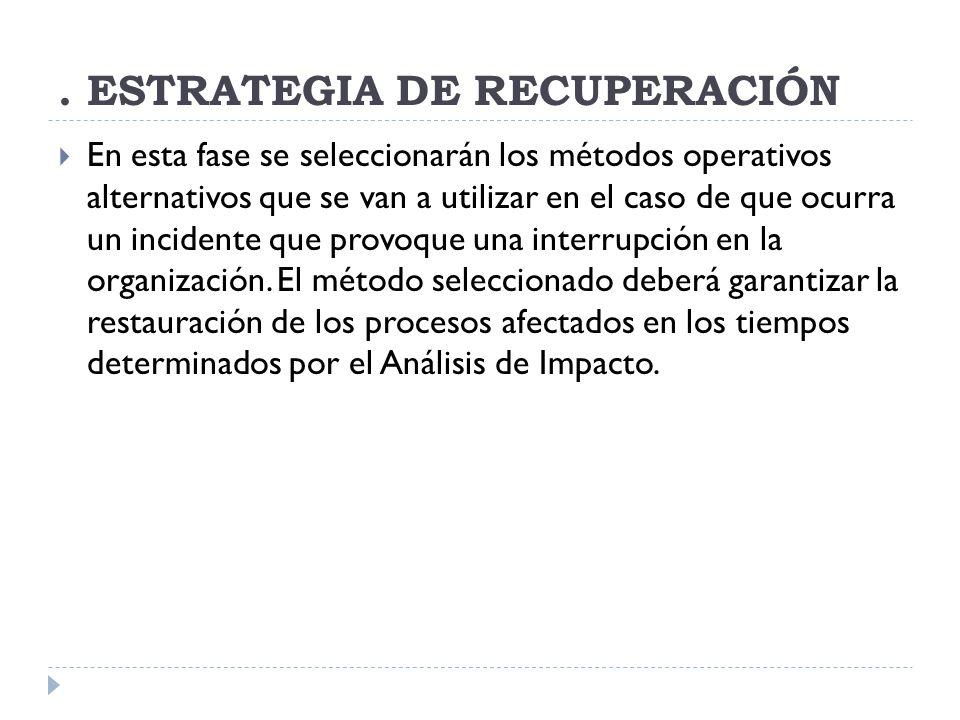 . ESTRATEGIA DE RECUPERACIÓN
