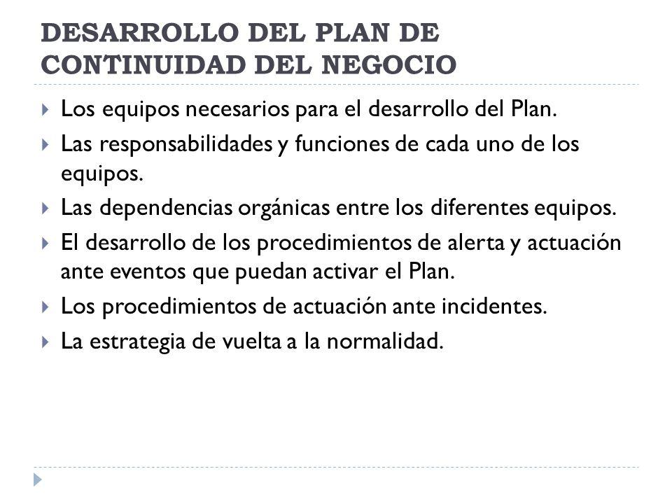 DESARROLLO DEL PLAN DE CONTINUIDAD DEL NEGOCIO